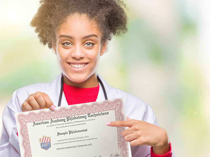 American Academy of Phlebotomy Technicians Student with Certificate